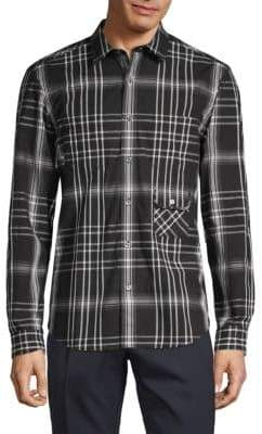 Burberry Plaid Linen & Silk Button-Down Shirt
