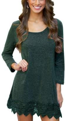 MiYang Women's Long Sleeve A-line Lace Stitching Trim Casual Dress XL