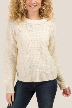 francesca's Meredith Cable Knit Dolman Sweater - Ivory