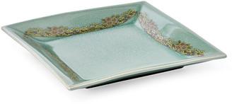 "One Kings Lane 15"" Crackled Flower Plate - Celadon"