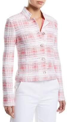 St. John Becca Button-Down Tweed Jacket