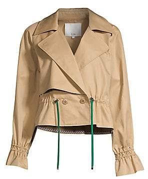 Tibi Women's Finn Twill Cropped Peplum Trench Jacket