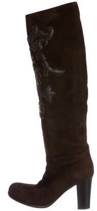 Prada Suede Knee-High Boots