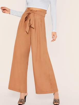 Shein Paperbag Waist Belted Palazzo Pants
