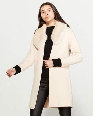Love Token Megan Faux Fur Collar Cardigan