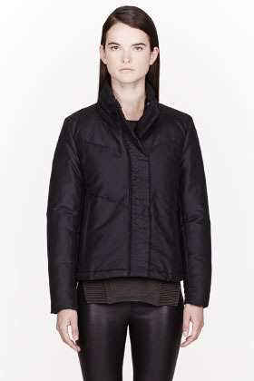 Helmut Lang HELMUT Black Waxed Cotton Quilted down jacket
