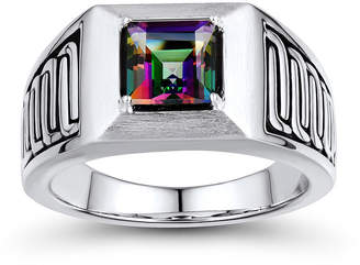 FINE JEWELRY Mens Genuine Mystic Fire Topaz Sterling Silver Comfort Fit Ring