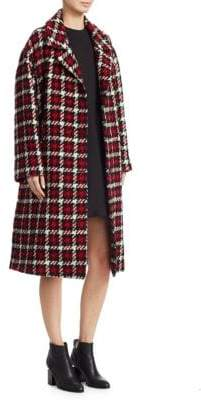 McQ Long Wool Check Coat