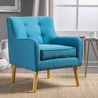 Noble House Fargo Mid Century Fabric Arm Chair,Teal