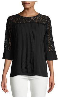 Karl Lagerfeld Paris Women's Pleated Lace Top