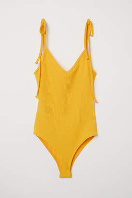 H&M Ribbed Bodysuit - Yellow