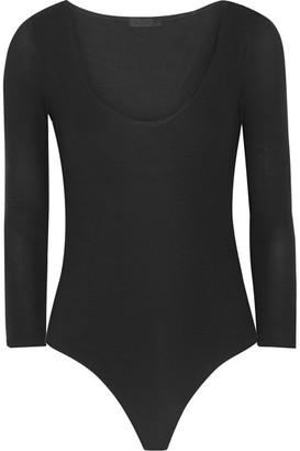 ATM Anthony Thomas Melillo - Ribbed Stretch Micro Modal Bodysuit - Black $195 thestylecure.com
