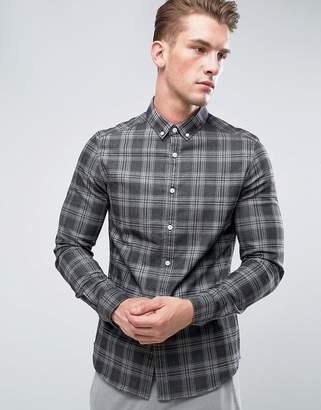 Asos DESIGN stretch slim denim check shirt