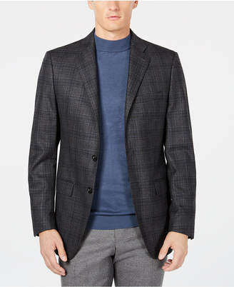 Calvin Klein Men's X Fit Slim-Fit Charcoal/Navy Plaid Wool Sport Coat