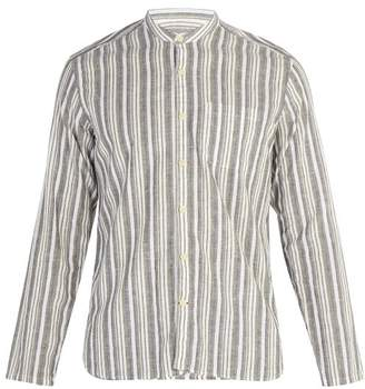 Oliver Spencer - Striped Grandad Collar Cotton Blend Shirt - Mens - Green Multi