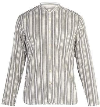 Oliver Spencer Striped Grandad Collar Cotton Blend Shirt - Mens - Green Multi