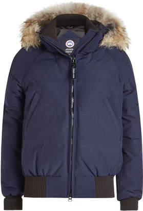 Canada Goose Savona Down-Filled Bomber Jacket with Fur Trimmed Hood