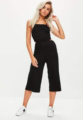 Missguided Black Jersey Tie Back Cut Out Culotte Romper