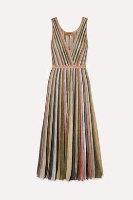 Missoni Pleated Metallic Crochet-knit Maxi Dress - Pink