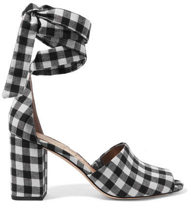 Sam Edelman - Odele Gingham Canvas Sandals - Black