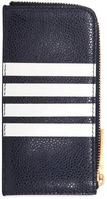 Thom Browne Zip Around Leather Wallet W/ Stripes
