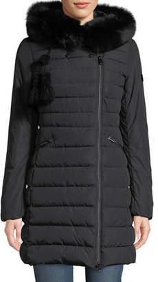 Peuterey Seriola Puffer Coat w/ Fur Trim & Pompoms