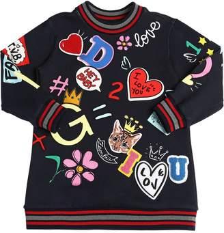 Dolce & Gabbana Doodles Cotton Sweatshirt Dress