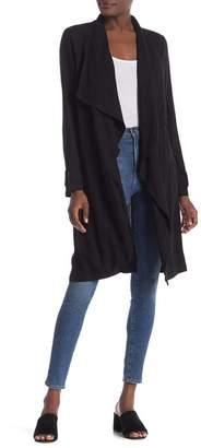 Elodie Drape Collar Linen Blend Trench Coat