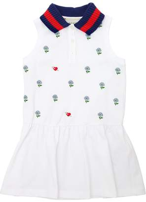Gucci Floral Embroidered Cotton Piqué Dress