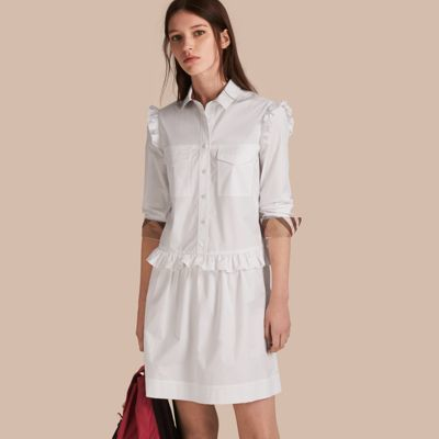 Burberry  Burberry Ruffle and Check Detail Cotton Shirt Dress