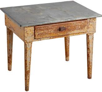 Rejuvenation Primitive Zinc Top Kitchen Table w/ Drawer