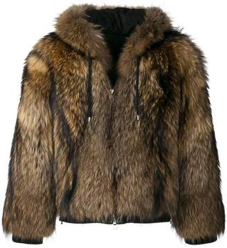 Balmain hooded fur jacket