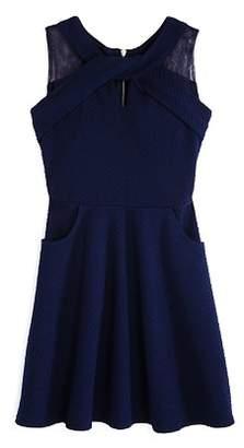 Us Angels Girls' Textured Knit Dress with Pockets - Big Kid