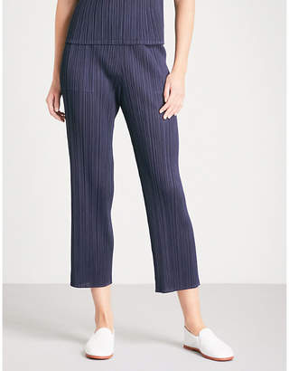 Pleats Please Issey Miyake Basics cropped pleated trousers