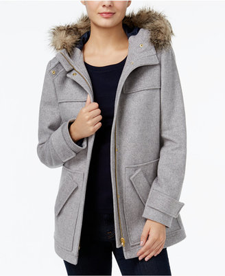 Tommy Hilfiger Kate Faux-Fur-Trim Coat, Only at Macy's $198.50 thestylecure.com
