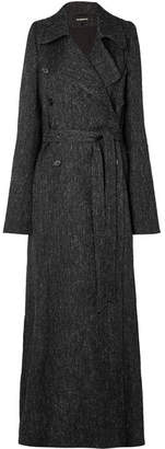 Ann Demeulemeester Belted Double-breasted Tweed Coat - Black