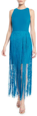 Aidan Mattox Sleeveless Open-Back Fringe Dress