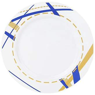 "Kaya Collection - Disposable Potpourri Blue, White and Gold 7.5"" Salad/Dessert Plates (20 Plates)"