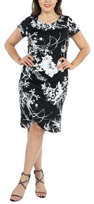 24/7 Comfort Apparel 24Seven Comfort Apparel Diana Black and White Plus Size Dress