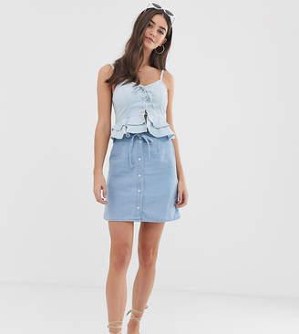 Asos Tall DESIGN Tall denim button through mini skirt with skinny belt in pretty blue