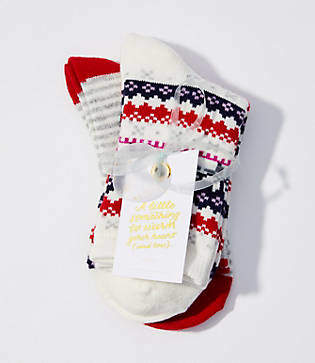 LOFT Fairisle & Stripe Crew Sock Gift Set