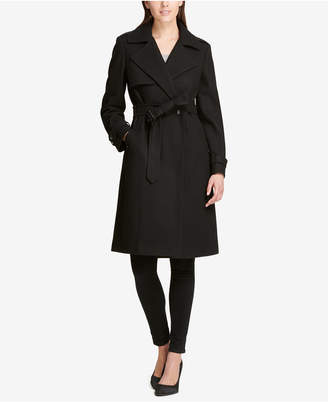 DKNY Petite Double-Breasted Trench Coat