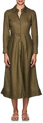Barneys New York Women's Linen Maxi Shirtdress - Green