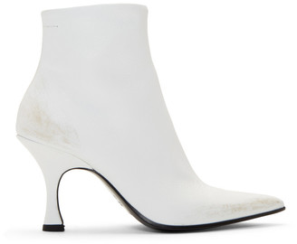 MM6 MAISON MARGIELA White Distressed Pointed Toe Boots