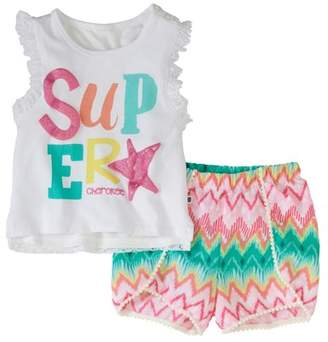 Cherokee Toddler Girls' Lace Back Tank and Short 2-Piece Set
