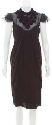 Valentino Rosette Midi Dress Black Rosette Midi Dress