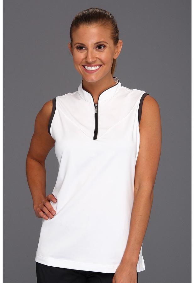 adidas ClimaLite Sleeveless Piped Polo '13 (White/Black) - Apparel
