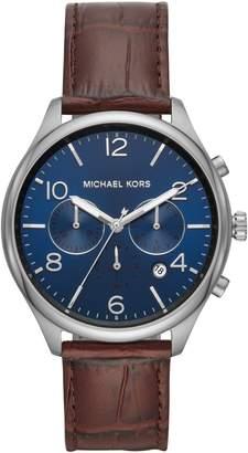 Michael Kors Merrick Leather Strap Watch, 42mm