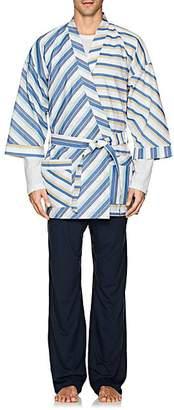 Barneys New York MEN'S STRIPED COTTON POPLIN KIMONO SIZE XL