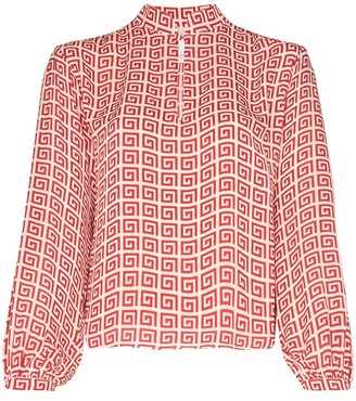Rebecca De Ravenel spiral-print peasant blouse